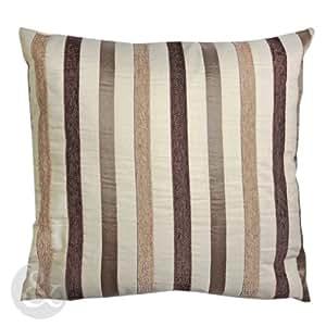 just contempo coussin rayures marron beige housse de coussin naturel 43 x 43 cm marron. Black Bedroom Furniture Sets. Home Design Ideas