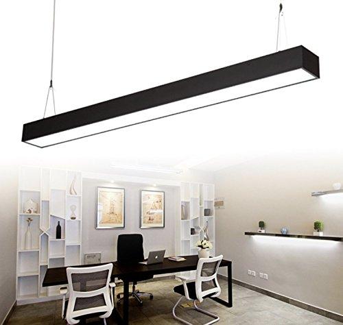 24W LED Lámpara colgante de diseño,2700lm 6000k, altura ajustable de la lámpara de mesa de comedor - Aluminio hierro [Clase de eficiencia energética A+]El negro
