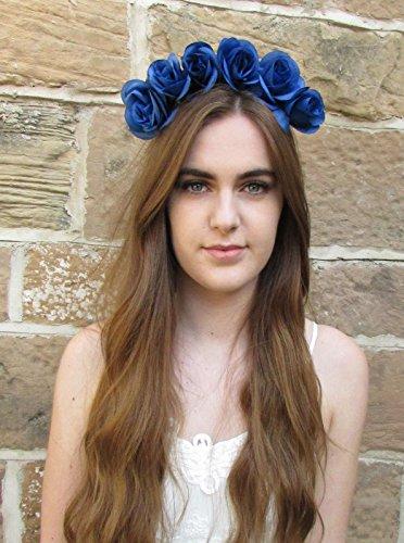 Bleu Rose Fleur Couronne Serre-tête guirlande cheveux Boho Vintage Festival coiffe V69 * * * * * * * * exclusivement vendu par – Beauté * * * * * * * *