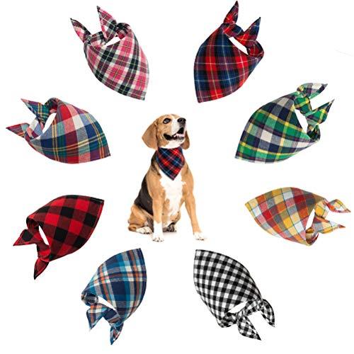 SCENEREAL CO. Pañuelo clásico para Perro, diseño de Cuadros, 8 Unidades por Paquete, Regalo de cumpleaños