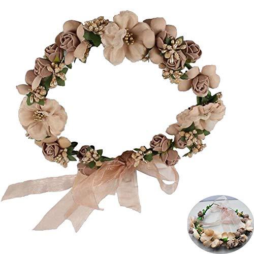 JUNGEN 1 PCS Fleur Couronne Bandeau Floral Couronne Colliers de Fleurs Arc Guirlande pour Mariage Festival Partie Voyage (13 fleur Style)