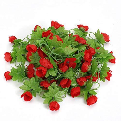 Anddod 2m Artificial Flower Rose Leaf Vine Ivy Garland Decorations - Red - Flower Red Garland