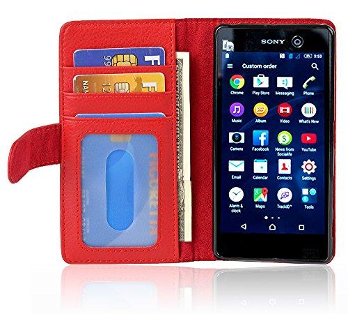 Cadorabo Coque pour Sony Xperia M5 en Rouge Cerise - Housse Protection avec Fermoire Magnétique et 3 Fentes Cartes - Portefeuille Etui Poche Folio Case Cover