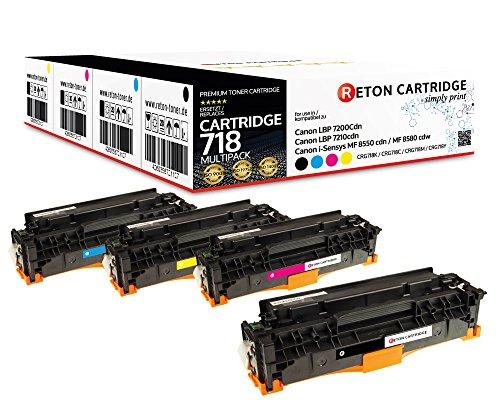 4 Original Reton Toner kompatibel zu 718 718K 718C 718M 718Y für Canon LBP-7200CDN Canon LBP-7210CDN Canon i-Sensys MF-8550 CDN Canon i-Sensys MF-8580 CDW - Blau Canon Toner
