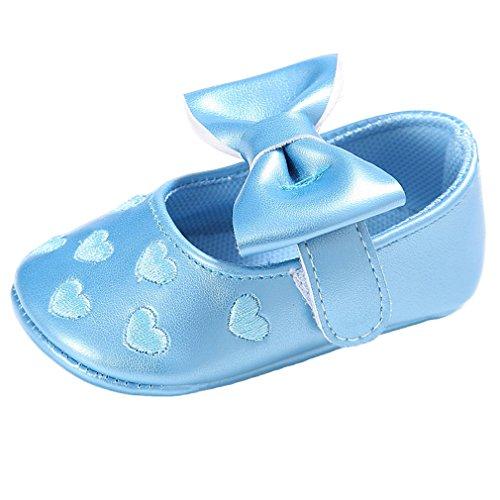 Baby Bowknot Herz Stickerei Schuhe Prinzessin Schuhe 0-18 Monat Blau