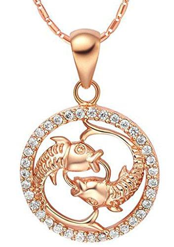 AMDXD Schmuck Herren Damen Kette Rosegold Vergoldet 12 Sternzeichen Kette mit Fische Anhänger Halskette Rose Gold Kette 50-60CM