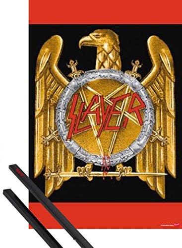 Poster + Sospensione : Slayer Poster Stampa (91x61 cm) Logo E Coppia Di Barre Porta Poster Nere 1art1®
