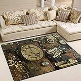 Use7?Steampunk Vintage Ancien Gears Zone Tapis Tapis Tapis pour Le Salon Chambre š€ Coucher, Tissu, Multicolore, 203cm x 147.3cm(7 x 5 Feet)...