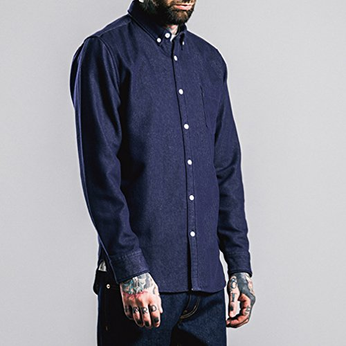 Honghu Slim Fit Chemise Casual Homme Bleu