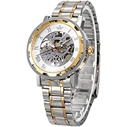 AMPM24 Elegant Golden Skeleton Hand-Winding Mechanical Silver Steel Mens Wrist Watches + AMPM24 Gift Box PMW221