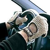 Guantes de conducción para coche retro, vintage, de piel de cordero, color marrón, talla L