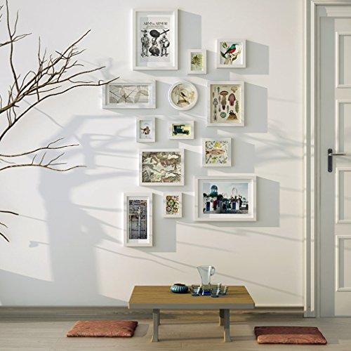 &Dekorative Wände Moderne Massivholz Bilderrahmen Wand Sets Von 13, hängen Bilderrahmen Wand Wohnzimmer Schlafzimmer Kombination Bilderrahmen Wand Sofa Hintergrund Bilderrahmen Wand Modischer Entwurf ( Farbe : B , größe : 13frames/152*79CM )