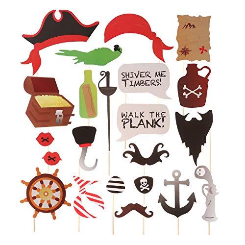 Amosfun Pirate Themen Photo Booth Requisiten Kit DIY Papier Selfie Requisiten Party Dress Up Zubehör Geburtstag Party Favors Dekoration für Kinder 22 STÜCKE
