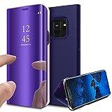 MP4 Telecom Coque Etui Housse pour Samsung Galaxy s9 case Clear View Etui à Rabat Cover Flip Case Miroir Antichoc Téléphone Portable Samsung violet