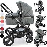 3 in1 Kinderwagen Kombikinderwagen Bambimo Buggy & Babyschale Farben Dunkel-Grau incl. Wickeltasche - Regenschutz - Ablage Tisch.