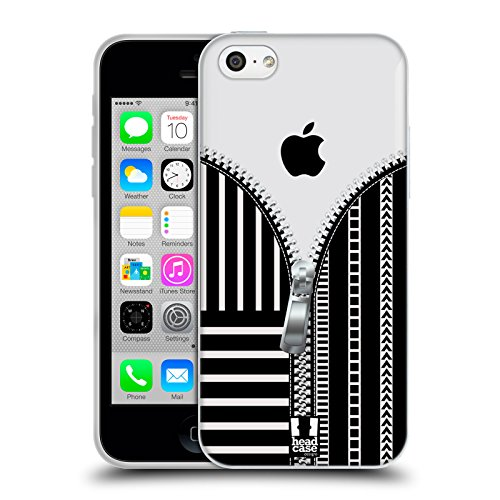 Head Case Designs Leopard Zip It Series 2 Soft Gel Hülle für Apple iPhone 6 / 6s Schwarz Und Weiss