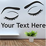 Ponana Eyes & Text Wall Window Art Picture Sticker Hair Beauty Salon Varnish Wax Wall Decals Removable Home Decor Mural 100X58Cm