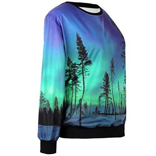 Thenice Pull à imprimé numérique pour femme Sweat-shirt - Sweden Aurora