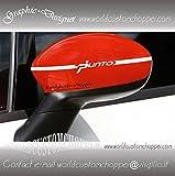 2 ADESIVI SPECCHIETTI FIAT GRANDE PUNTO DECAL GRAFICHE AUTO TUNING (ROSSO)