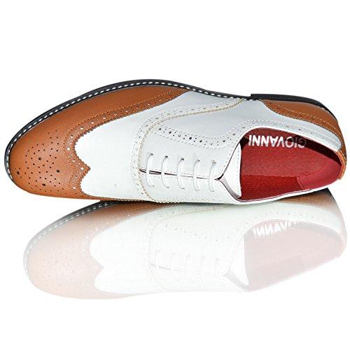scarpe da uomo stile Brogue, in pelle, con lacci, a doppia tonalità Tan Weiß