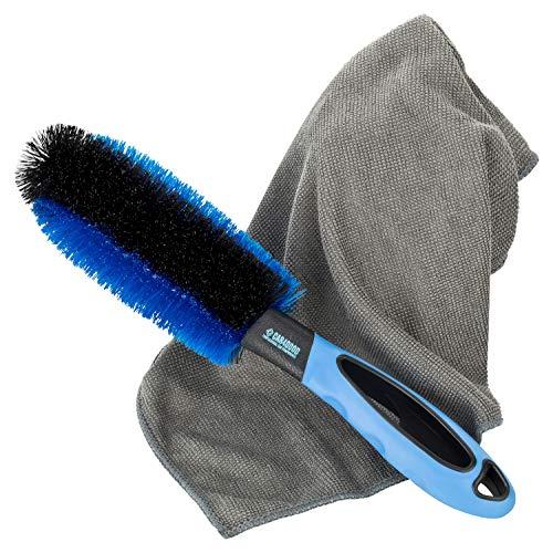 Car4Good ® Premium Felgenbürste mit Mikrofasertuch zur effektiven Felgenreinigung von Alufelgen I Bürste für Reinigung Auto Felge Hand Moc