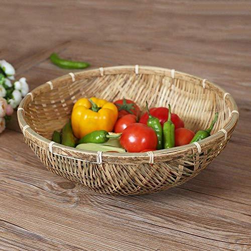 EUBEISAQI Natürliche handgemachte handgewebte Bambuskörbe Brotkorb-Speicher-Hampel-Behälter für Obst Gemüse Ablassen Korb Snack Food 1 STÜCKE