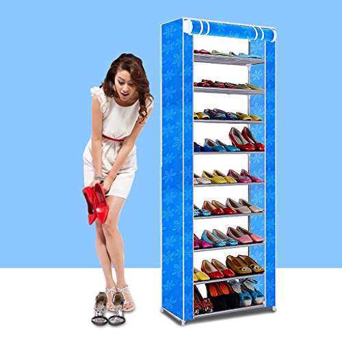 Fu Man Li Trading Company Porte-Chaussures Simple Multi-Couches en Fer Grande Oxford Tissu Armature de Chaussures Anti-poussière Non tissé Cadre de Chaussure Moderne Simple A+ (Couleur : Bleu)