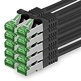 1aTTack.de 626093 Cat.7 Netzwerkkabel 0,5m Schwarz - 10 Stück - Cat7 Ethernetkabel PoE+ LAN Kabel Rohkabel 10 Gb/s (S-FTP PIMF) Set Patchkabel mit Rj 45 Stecker Cat.6a 10 x 0,5 Meter Schwarz