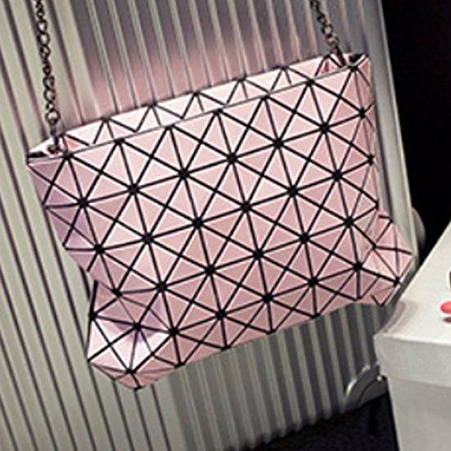 MILY patente PU donna notte spezzato Frizione Borsa Crossbody Borsa da spalla con tracolla in catena, nero rosa
