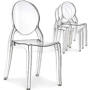 Lot de 4 chaises Diva Plexi Transparent