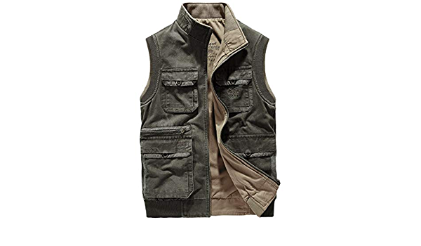 Logo Weste Herren Weste Multifunktions Outdoor Jacke Multi-Pocket Mesh Taktische Weste atmungsaktiv aush/öhlen d/ünn for Camping Jagd Angeln Color : Khaki, Size : M