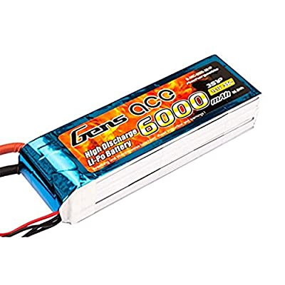 Gens ace 6000mAh 11.1V 35°C 3S1P Lipo Battery Pack with EC5Connector for Model Construction Vehicle FPV RC Car Helicopter Plane Boat Car Helicopter Toy from Gens ace