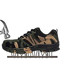 SUADEX Damen Herren Sicherheitsschuhe Sportlich Trekking Wanderhalbschuhe Stahlkappe Arbeitsschuhe Hiking Schuhe Traillaufschuhe, Schwarz, 42 EU