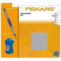 Fiskars Set de Inicio Placas de Textura con 12 Motivos, Estilete y Herramienta 3 Puntas, Metal, Gris, 14.5x1.4x18 cm, 16 Unidades