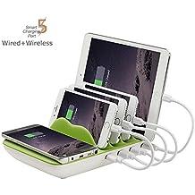 Estación de Carga Múlti, EarthSave Qi Cargador inalambrico USB de 4 Puertos Múltiples dispositivos Organizador de Escritorio de soporte de carga para iPhone X / iPhone 8,7, 6, 6s, 5, 5sPlus, iPad, Smartphones y Tabletas Verde