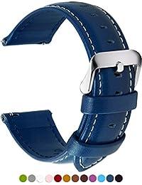 12 Colores para Correa de Reloj,Fullmosa®Axus Correa 22mm Huawei Samsung COACH Watch Correa de Piel de Liberación Rápida Correa de Reloj Reemplazo Correa con Conector de Inoxidable,Azul Oscuro