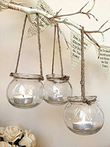 Set of 3 Clear Glass Hanging Tea Light Holders Candle Jar Lantern Wedding Decor …