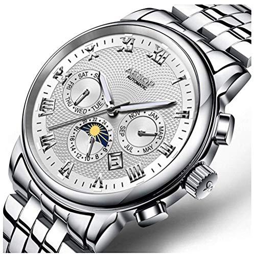 Reloj para Hombre Reloj mecánico automático con Esfera Azul Reloj de Pulsera de Acero...