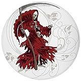 ZMYGH Round Rug Mat Carpet,Gothic,Illustration of Skeleton Grim Reaper Dead Farmer Skull with Hood Danger Evil,Red Beige White,Flannel Microfiber Non-Slip Soft Absorbent,for Kitchen Floor Bathroom