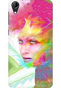 AMEZ designer printed 3d premium high quality back case cover for HTC Desire 728 (Digital art face girl multicolored)