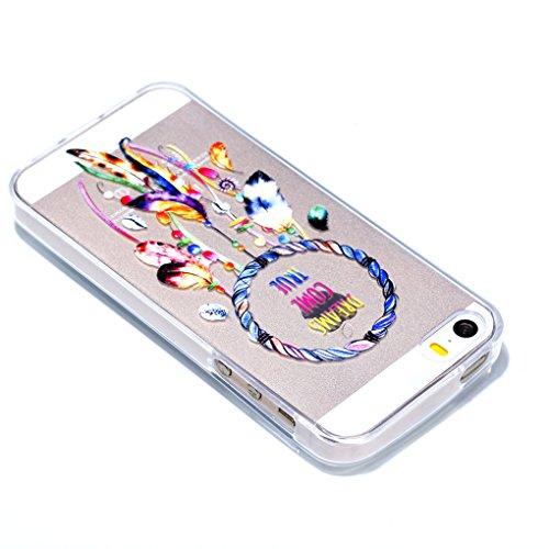 iPhone SE 5 5S Hülle, SATURCASE Schönes Muster Bas-relief Ultra Dünn Weich TPU Gel Silikon Schützend Zurück Case Cover Handy Tasche Schutzhülle Handyhülle Hülle für for Apple iPhone SE 5 5S (Muster-8) Muster-9