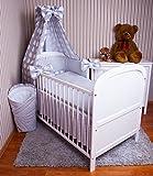 Amilian® Baby Bettwäsche 5tlg Bettset mit Nestchen Kinderbettwäsche Himmel 100x135cm NEU Eule Grau Vollstoffhimmel