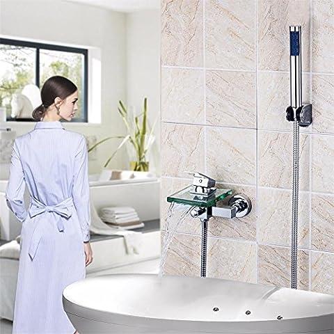 Modylee bagno e doccia rubinetto a parete becco quadrato di vetro cascata rubinetto vasca doccia palmare rubinetto vasca
