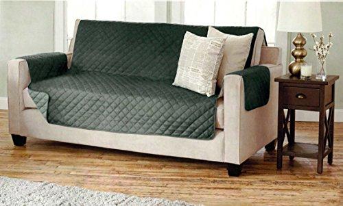 Sofaschoner zweiseitiger Sofaüberwurf Polsterschutz Sofabezug - gesteppt mit Armlehnen und DREI Taschen - Größe: 3-Sitzer ca. 191 x 279 cm - Farbe: Anthrazit/Hellgrau