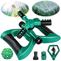 Bearbro Garden Sprinkler Automatic water sprinkler garden 360 Degree 3 Arm Rotating Sprinkler System for Watering Your Lawn Plants Flowers Veggies and More