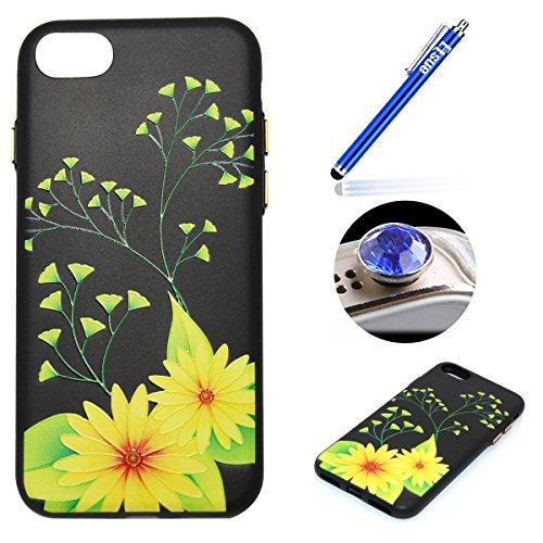 Coque pour iPhone 7,Étui iPhone 7 Case,ETSUE Coque iPhone 7 Slicone TPU Cover Housse de Téléphone avec Joli FleurTournesol fleur de pêcher en Relief ave Fond Noir Ultra Mince Coque iPhone 7 Housse Fle Fleur jaune