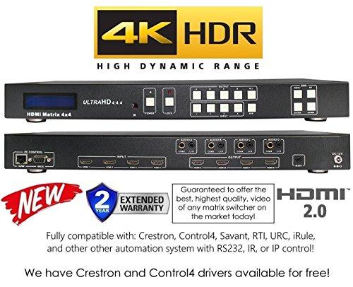 4x 4HDR HDMI 4K Matrix Switcher HDCP2.2HDTV Routing Selector SPDIF Audio Crestron ST control4Savant Home Automation (4x 4HDMI Mini HDR) Av Matrix Switcher
