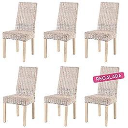 ROTIN DESIGN Lot de 6 chaises ZICAVO en kubu