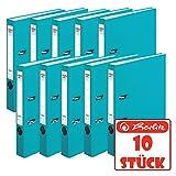 Herlitz 9942582 Ordner maX.file protect A4 5cm türkis, PP-Kunststoffbezug/Papier hellgr. besch. 10er Packung