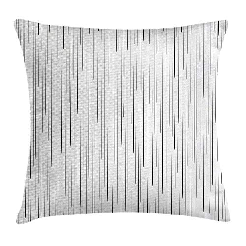 New pants Lake House Decor Throw Pillow Cushion Cover by, Comic Books Manga Vertical Dense Droplet Drawing with Tall Down Strokes Image, Decorative Square Accent Pillow Case, 18 X 18 inches, Black